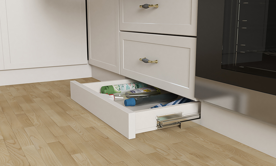 White skirting kitchen unit design drawer is the most innovative solutions of modern-day interior design to keep cleaning stuff