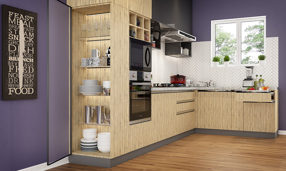 Open side with glass shelves kitchen unit design to display crockery & lit up internally using led strip light in your kitchen