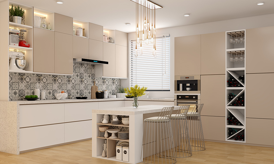 Kitchen units with an open wine rack with a built-in microwave and oven has ample storage for all your cookware