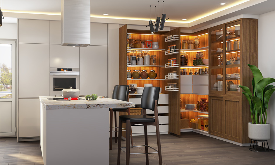 Kitchen unit with Island white kitchen with wooden interiors customized on style preferences