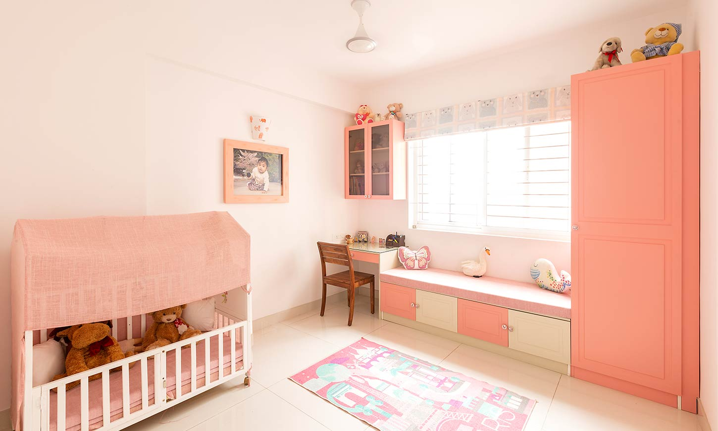 Kids room interior with study table designed by best interior design in bangalore