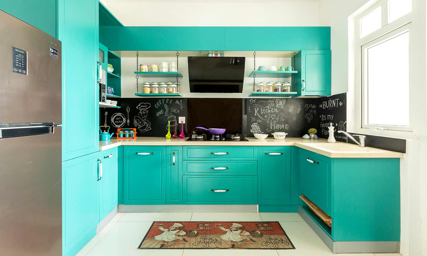 L shaped modular kitchen designed by interior design consultants in bangalore
