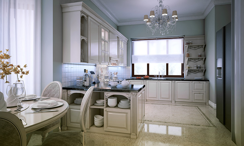 Modern kitchen lighting with a charming crystal chandelier looks elegant.