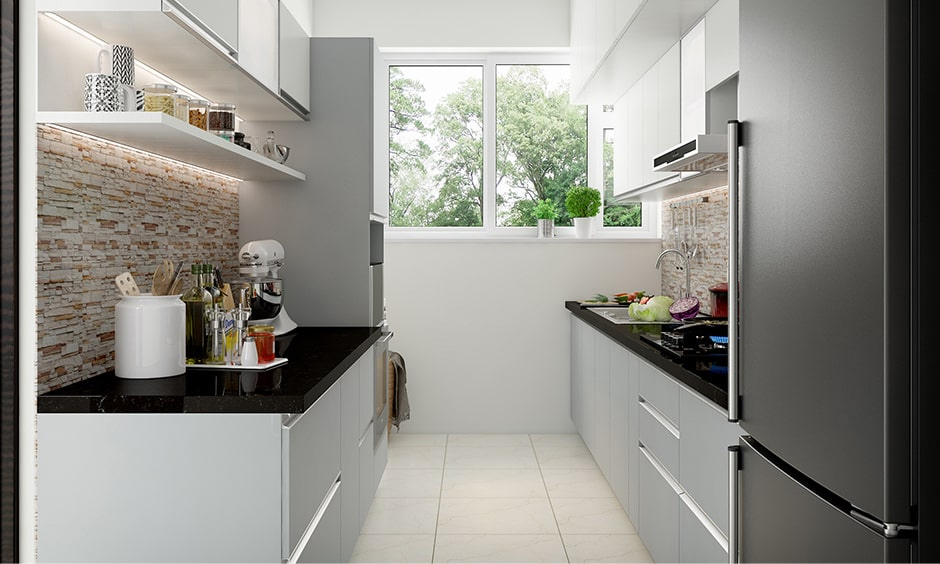 Compact galley kitchen design with stone cladding makes modern look for small galley kitchen