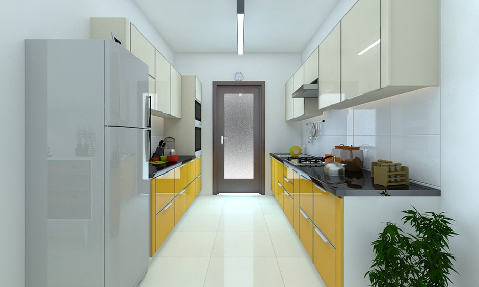 Galley kitchen design with lacquered glass in bright shade of yellow