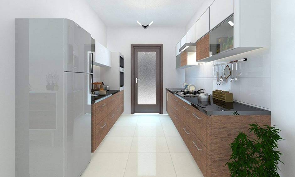 Simple kitchen with a parallel kitchen layout
