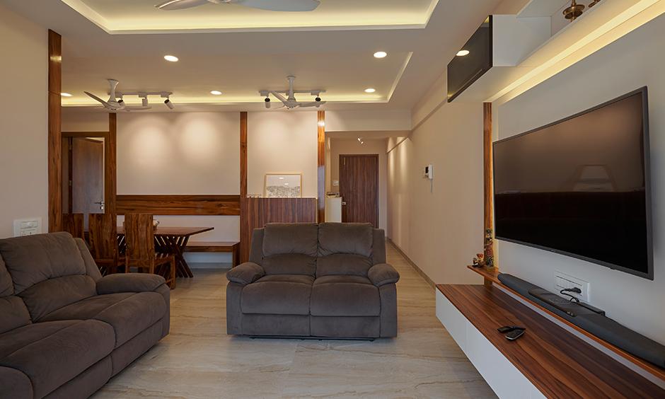 Living room designed by interior company in mumbai