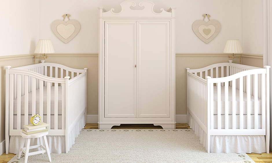Twin baby girl bedroom ideas made with fine wood with clean sheets make this space for twin bedroom