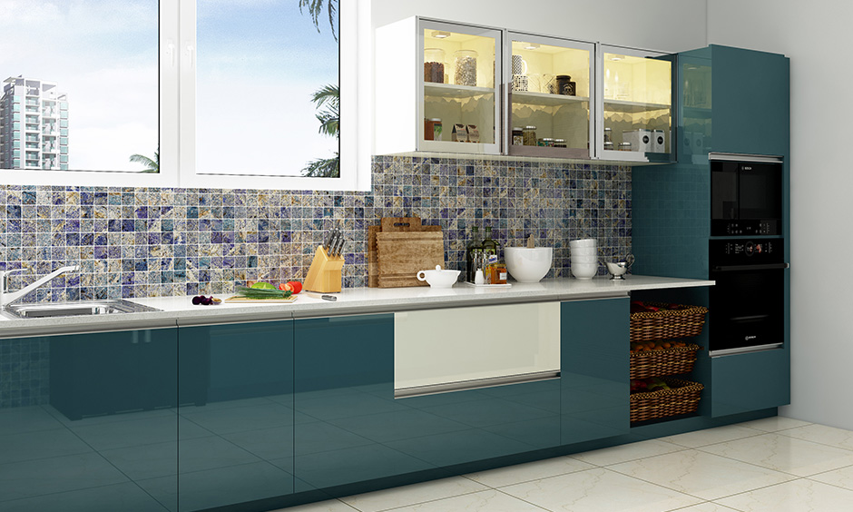 One wall kitchen with a mosaic backsplash, beautiful window for natural light and ventilation look bold.