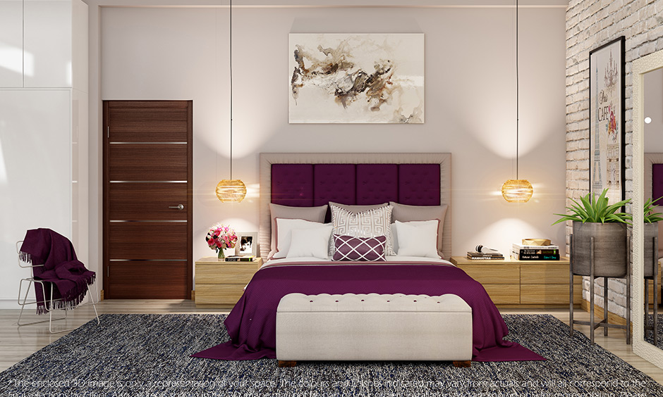 Modern master bedroom design with purple headboard with the best finishes and furnishings looks luxury.
