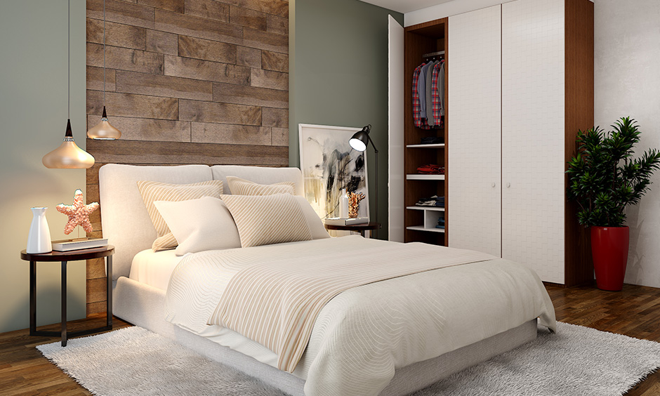 Master bedroom modern wardrobe design with all feature like a wall-mounted shoe rack brings luxury in a walk-in wardrobe