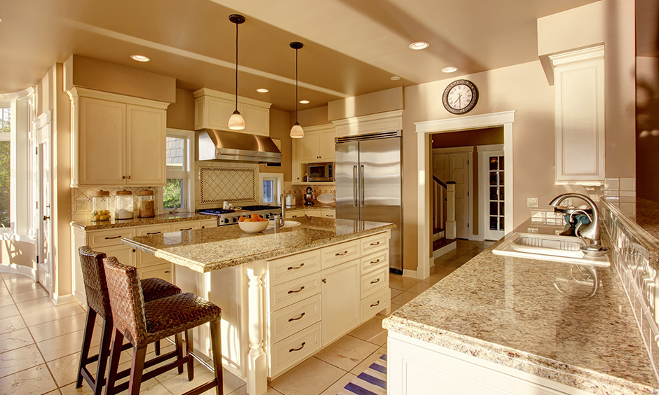 Beige marble kitchen countertop which is a perfect combination of texture, design and colour