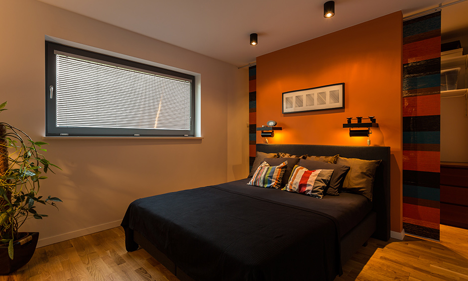 Rustic wall paint colours with muted orange for indian style of interior design