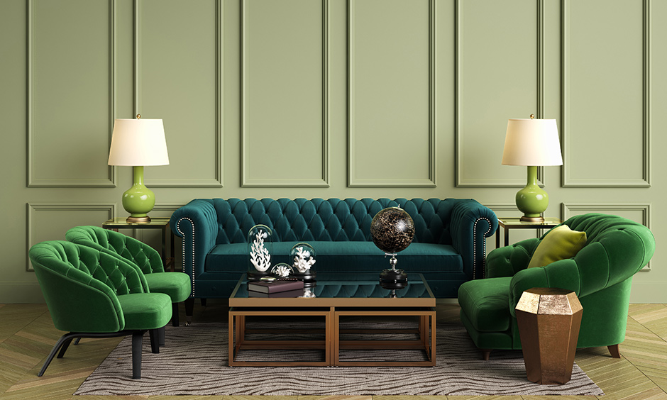 Brown rustic paint colour for wall with soothing olive green and right balance of pop
