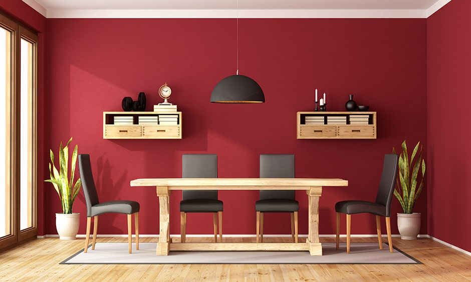 Dining room paint colors in warm tones, deep shades of red