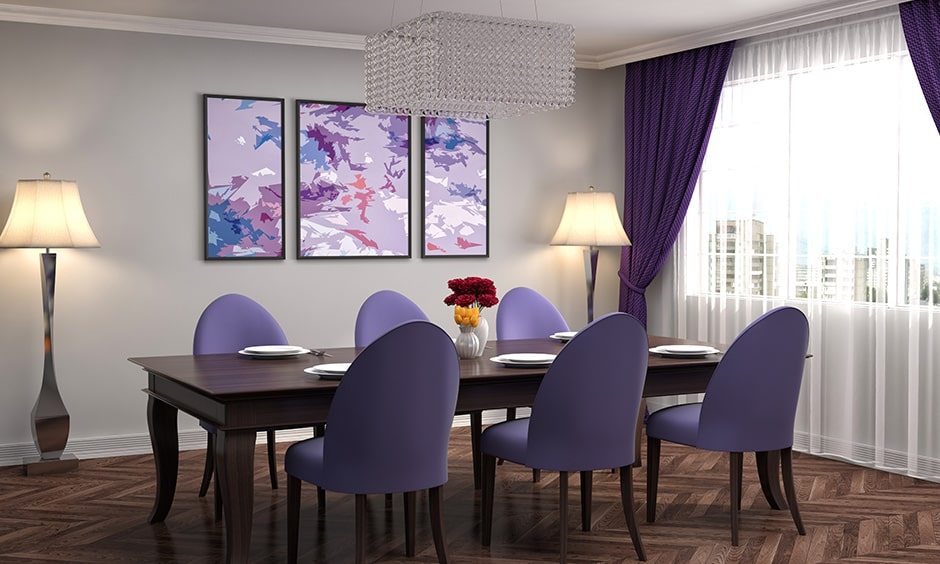 Best dining room paint colour ideas with purple