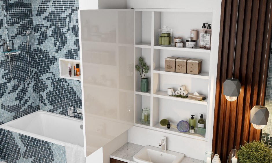 Bathroom interior design with hidden storage behind the mirror