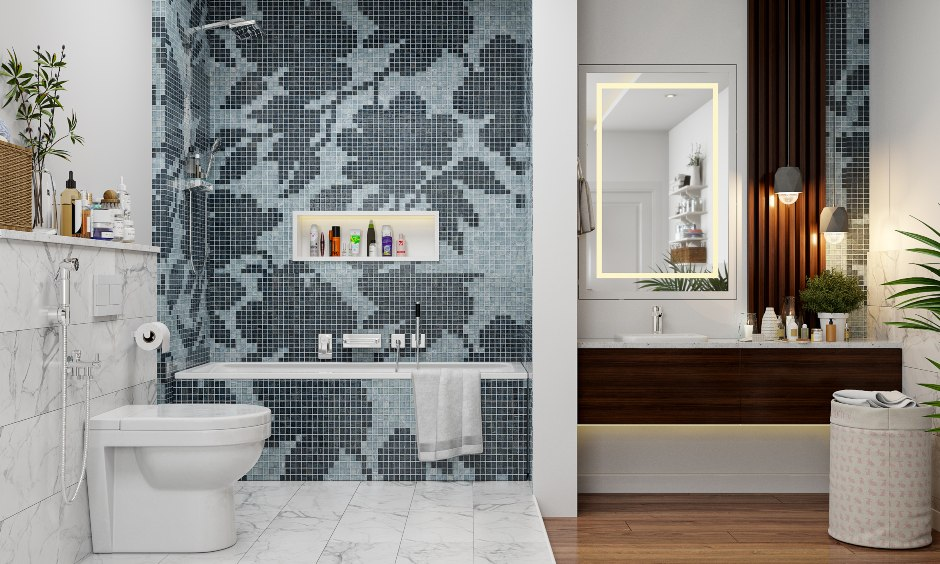 Bathroom interior design with floral mosaic tiles and wood finish