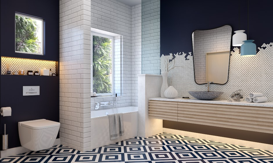 Bathroom designs in modern style with clean lines and patterned flooring makes beautiful bathroom designs