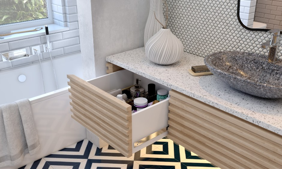Bathroom designs in modern style bathroom with in built organiser and vanity drawer