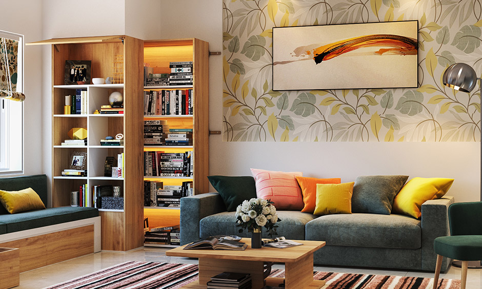 Maximalist design with colourful theme floral yellow printed wallpaper brings nature touch in this living room.