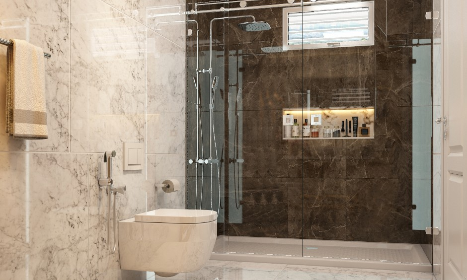 Small bathroom design in modern style with a shower area with a glass partition