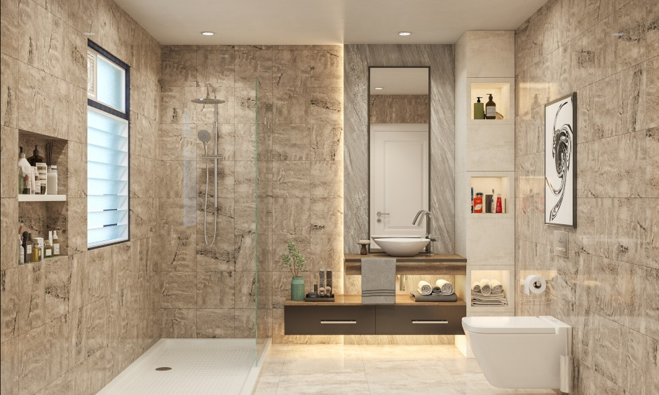 Bathroom design in sleek look modern styled bathroom with marble and vitrified tiles