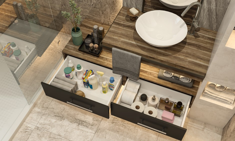 Bathroom design images in sleek modern style bathroom with a floating vanity with drawers