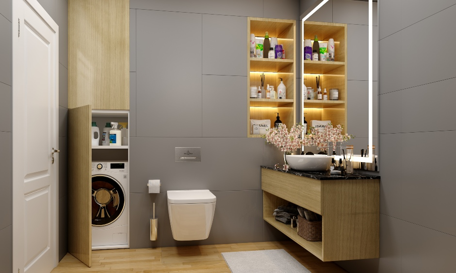 Bathroom designs in minimalist style bathroom in grey tones and wood finishes