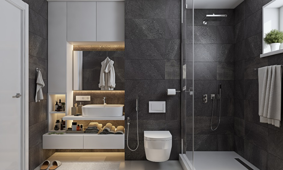 Small bathroom interior design with slate tiles and space saving vanity unit