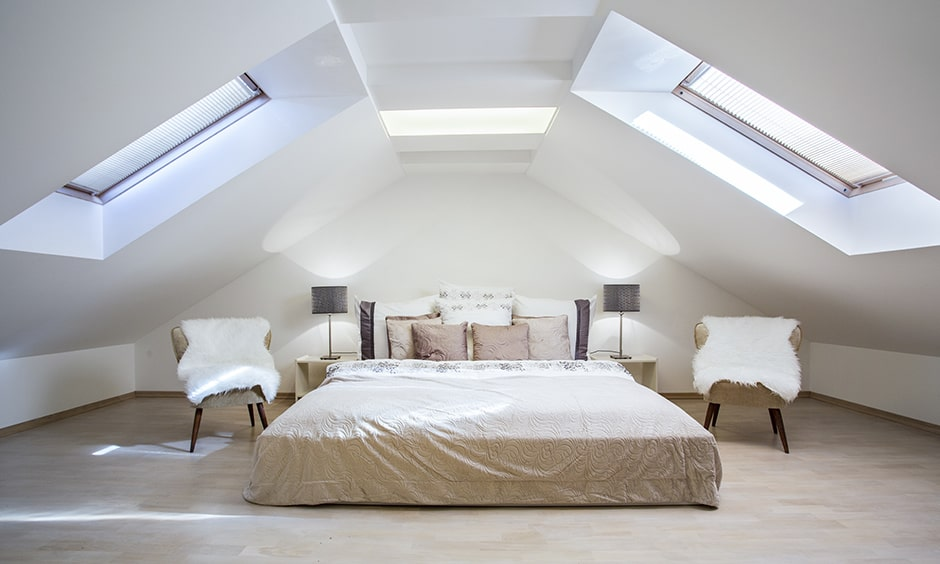 Attic bedroom design ideas to make a private, cosy, and romantic