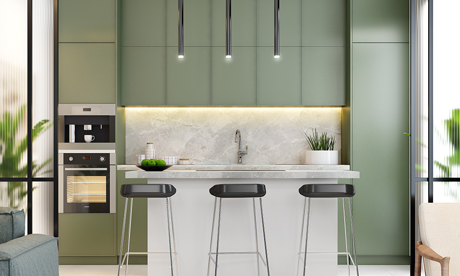 Smart luxury kitchen interior design in olive colour is small, modern and straightforward look beautiful yet rare