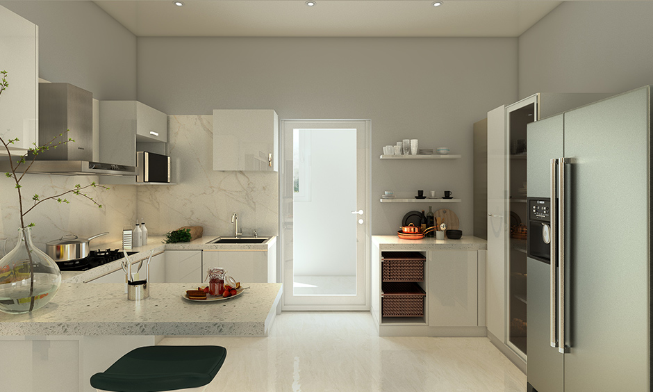 Compact luxury modern white kitchen with frosted glass tall unit, elegant overhead and bottom cabinets make beautiful