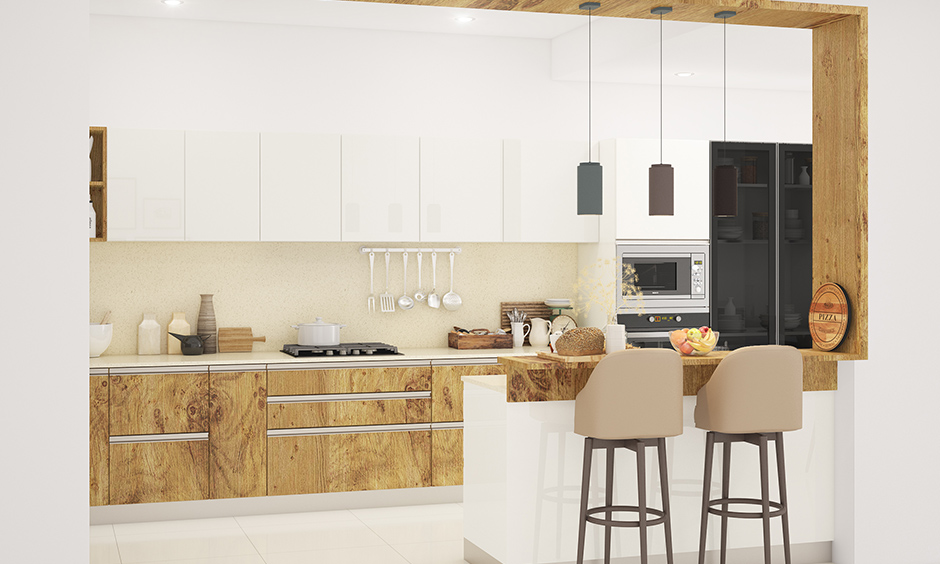 Luxury kitchen design mix and match of interior design styles designed with wood and glossy laminate glass.