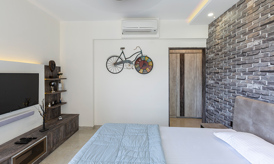 List of interior designers in Bangalore, DC designed this kids room with a unique rectangular stone cladding wall.
