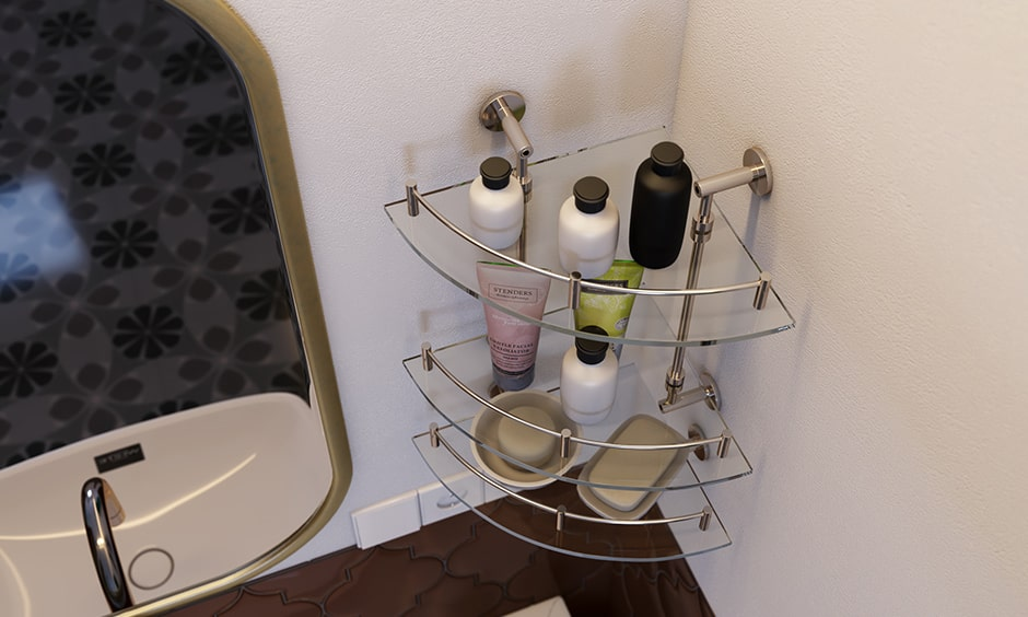 Corner shelves are bathroom accessories, it is a checklist to bathroom interior design