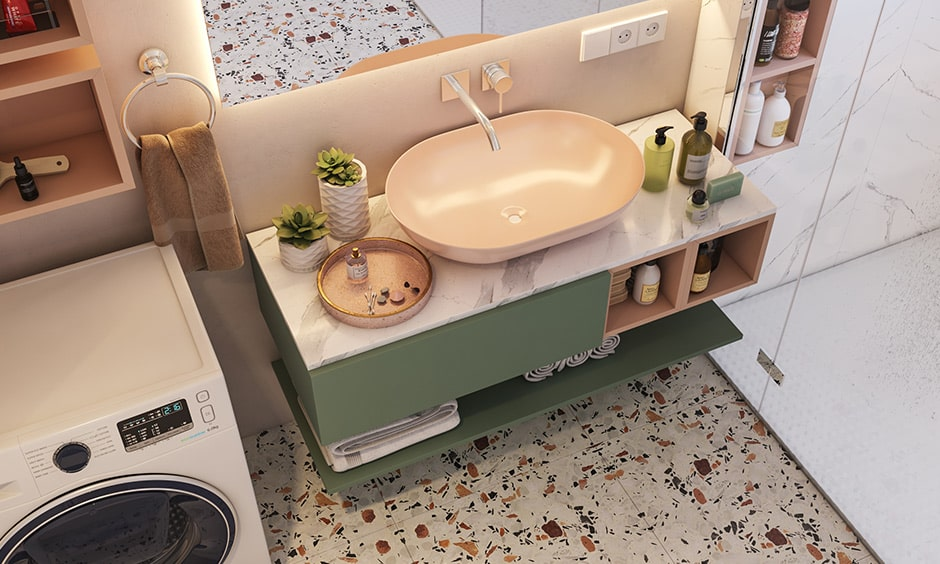 Countertop with a sink is an essential elements for your bathroom interior design