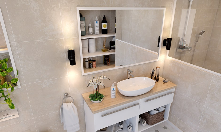 Checklist to bathroom interior design with wall mounted lamps