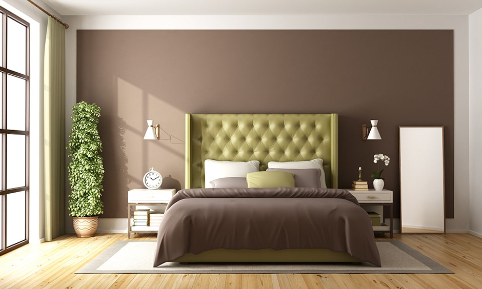 Warm paint colour and neutral colour is brown