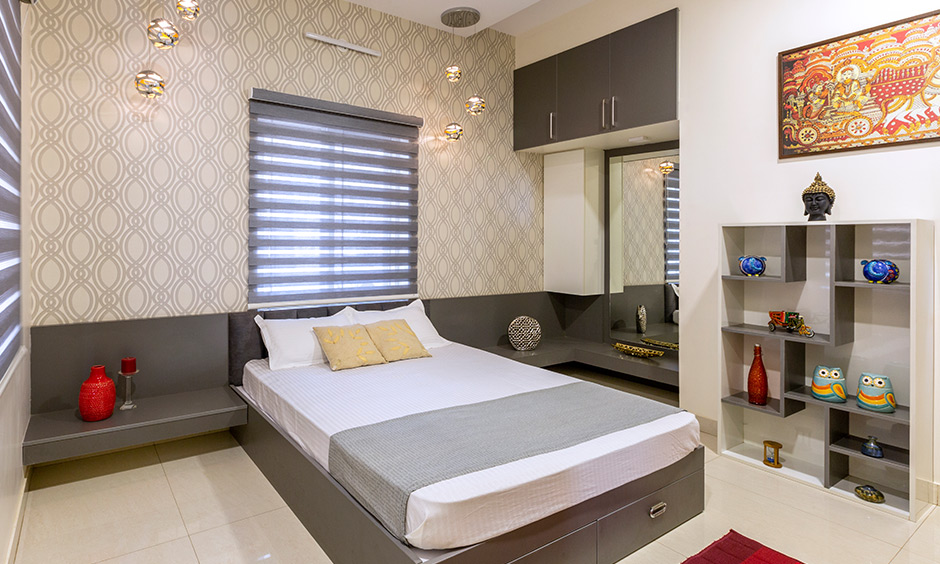 Guest bedroom combines a clean, elegant design with having lots of storage interiors for Rainbow Residency Sarjapur.