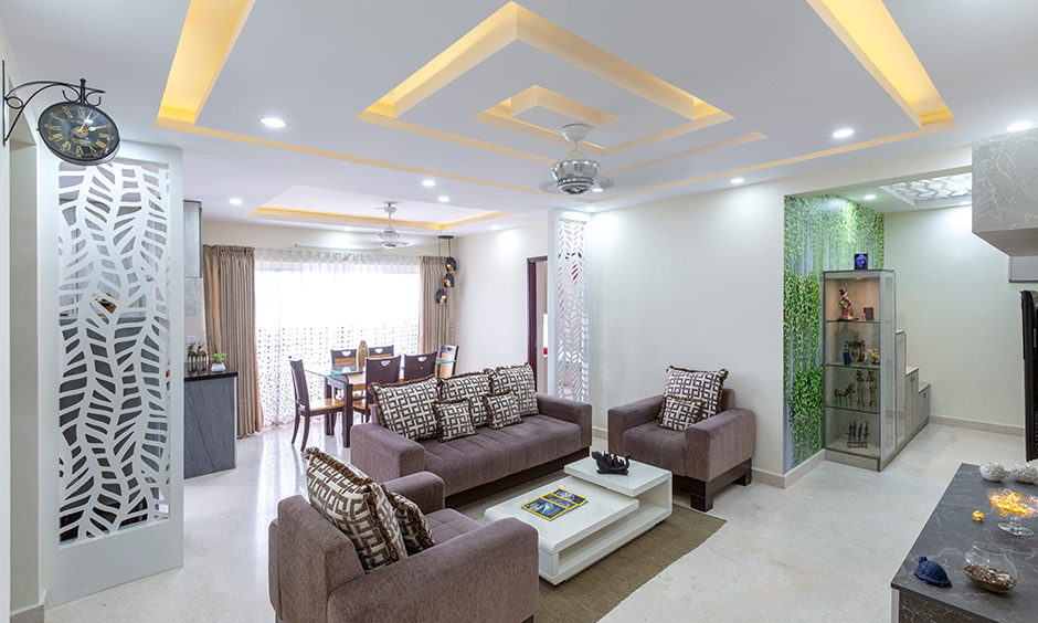 Living area designed by interior companies in bangalore  designed in a minimalistic way by apartments interior designers in bangalore