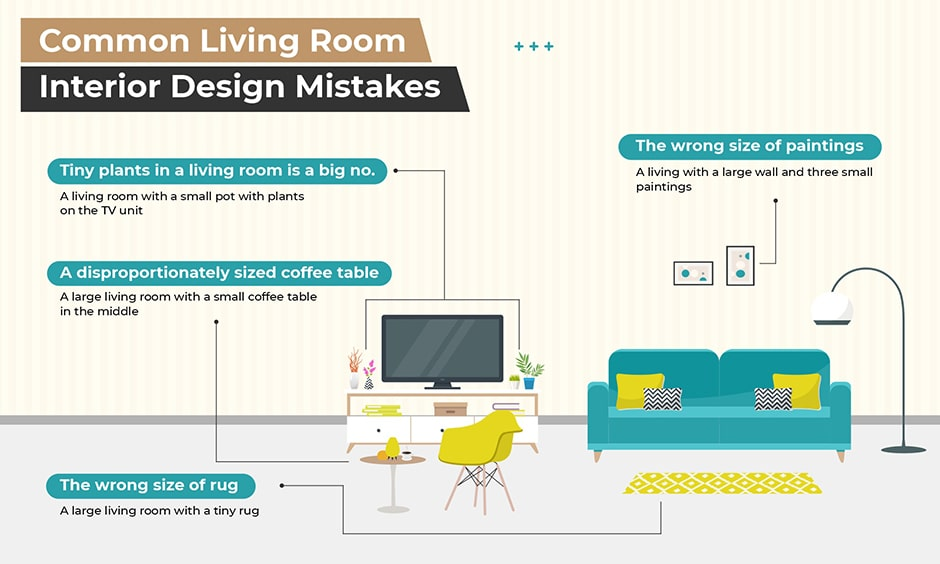 Living room interior design mistakes