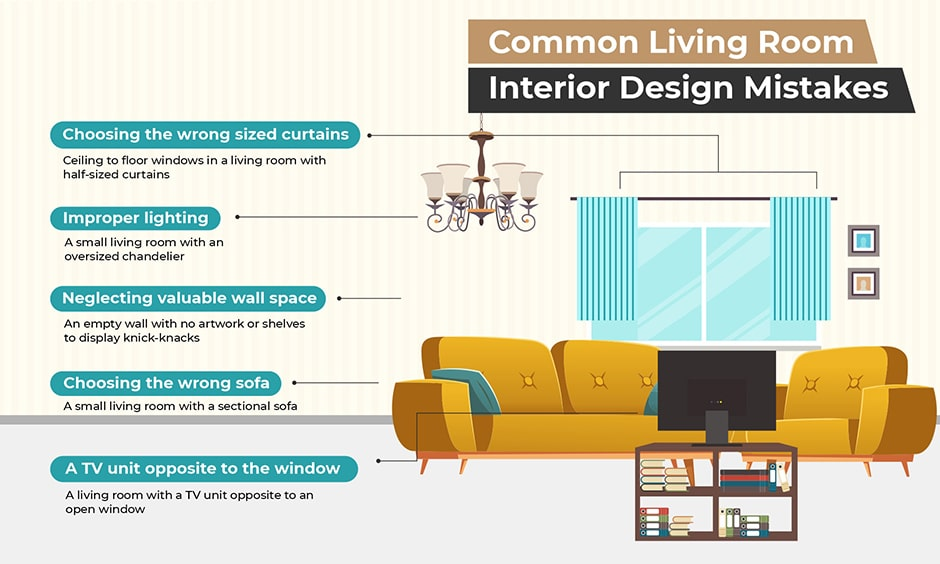 Check out the common living room interiors mistakes