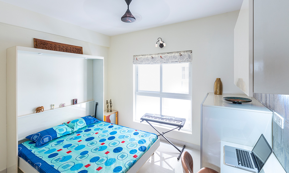 A guest room study office by apartments interior designers in bangalore