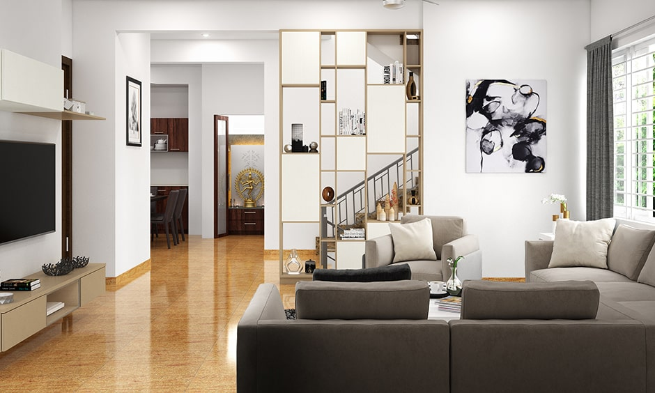 Living room with stairs layout with an elegant set of stairs and wooden flooring