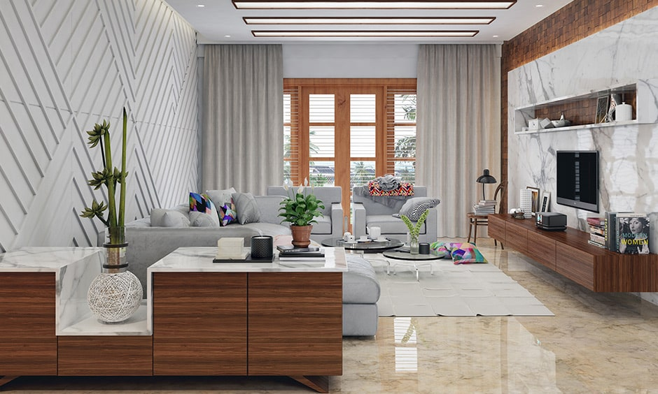 Rectangle shaped living room layout with accent wall in white a false ceiling