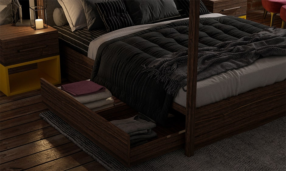 Storage solutions for small bedrooms with a bedside table with multi-functionality