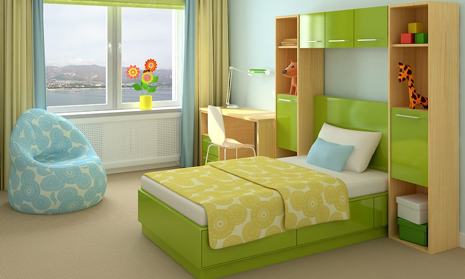 Maximize storage in small bedroom for kids with open shelves