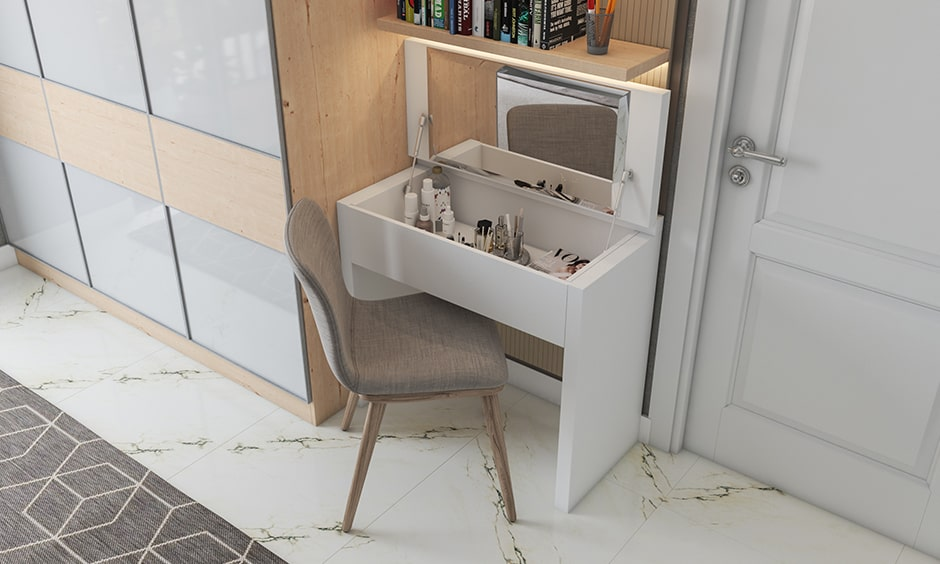 Storage solutions for small bedrooms with a study unit with a secret dresser