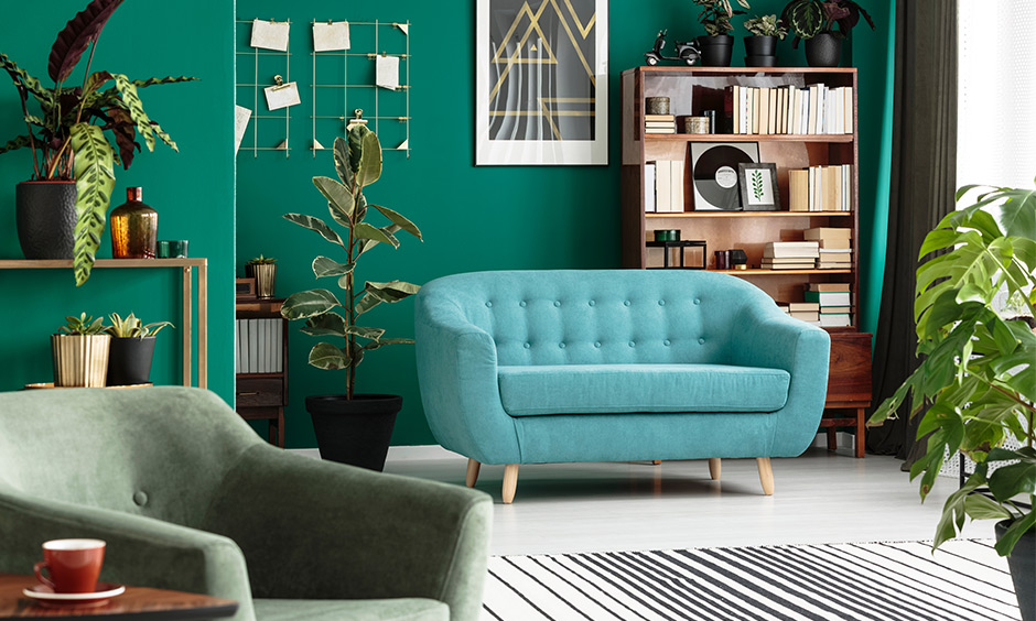 All Aqua green living room wall colour design is sure to exhibit a fresh vibe with bright yet close to nature's brilliance
